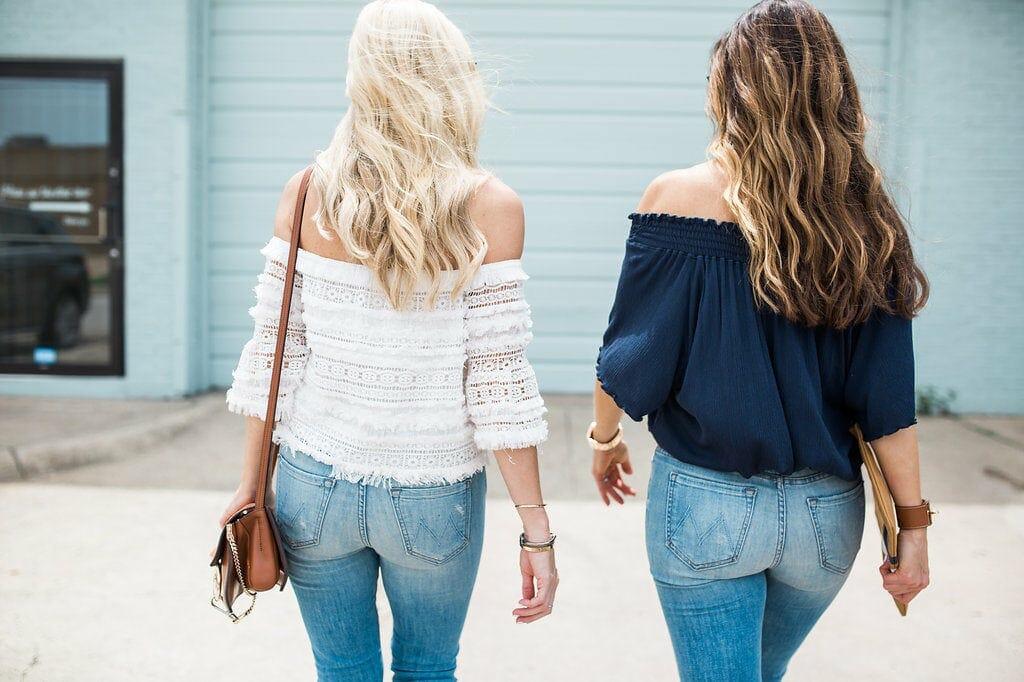Mother denim jeans, off the shoulder top, Dallas style blogger