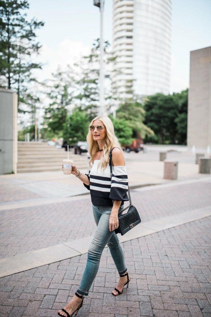 Black and White off the shoulder top, Heather Anderson, Dallas Fashion Blogger