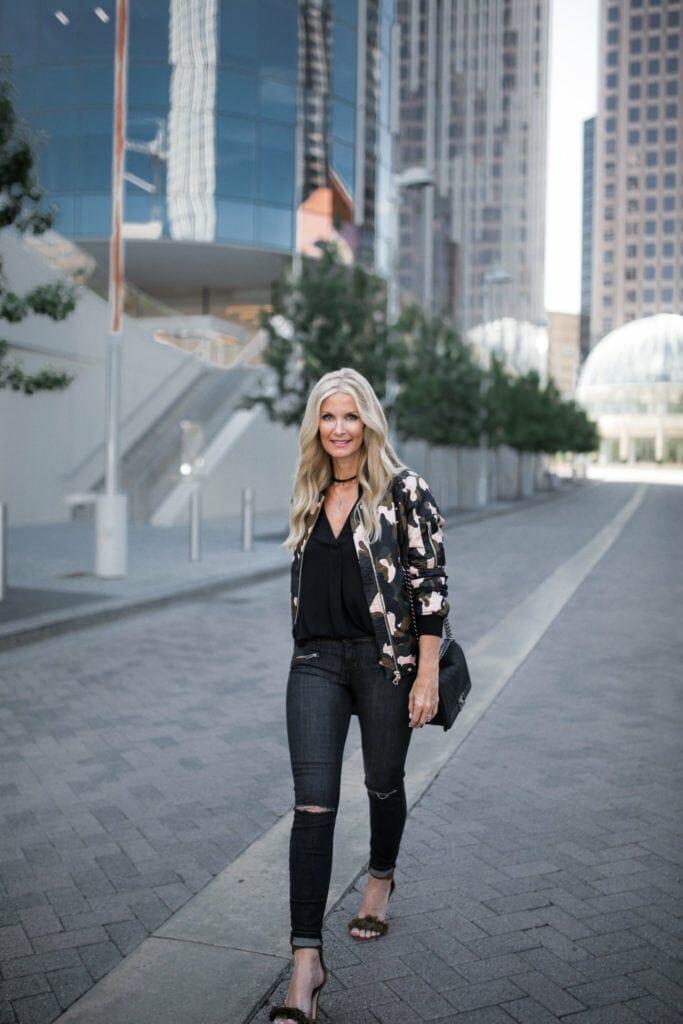 Camo Bomber Jacket, Heather Anderson, Dallas Fashion Blogger