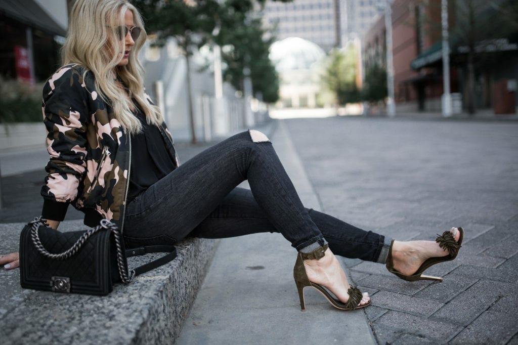 Bomber Jacket, Dallas Style Blogger, Chanel Boybag, Joie fringe heels