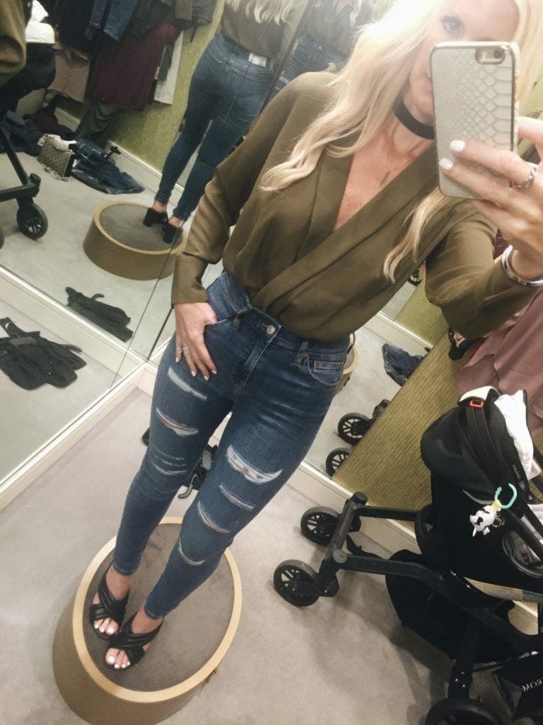 Topshop bodysuit, ripped jeans, high waisted jeans