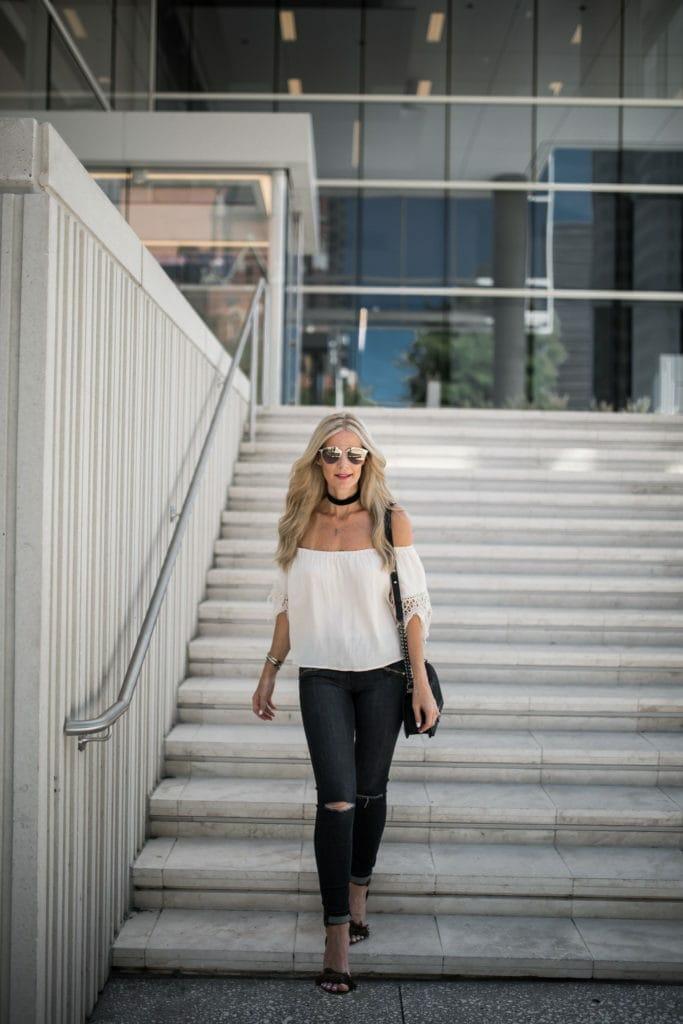 Off the Shoudler Top, Dallas Fashion Blogger, Current Elliott Jeans