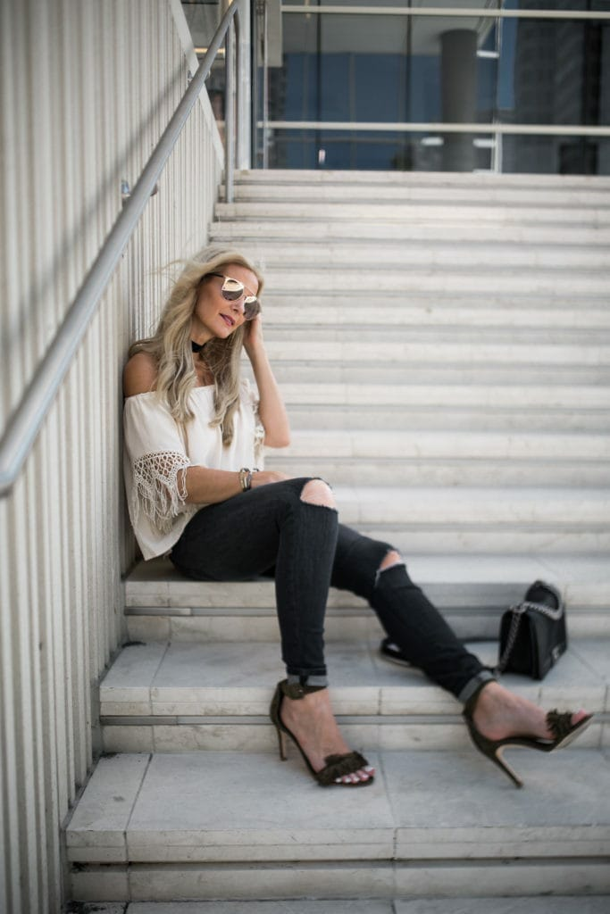 Off the Shoudler Top, Heather Anderson, Current Elliott Ripped Jeans