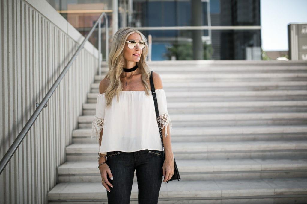 Off the Shoudler Top, Dallas Style Blogger, Black Velvet Choker