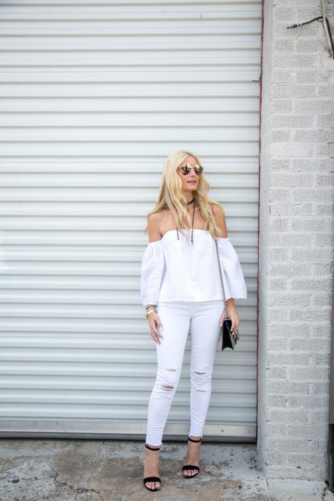 White denim, Dallas Fashion Blogger, Dior Sunglasses