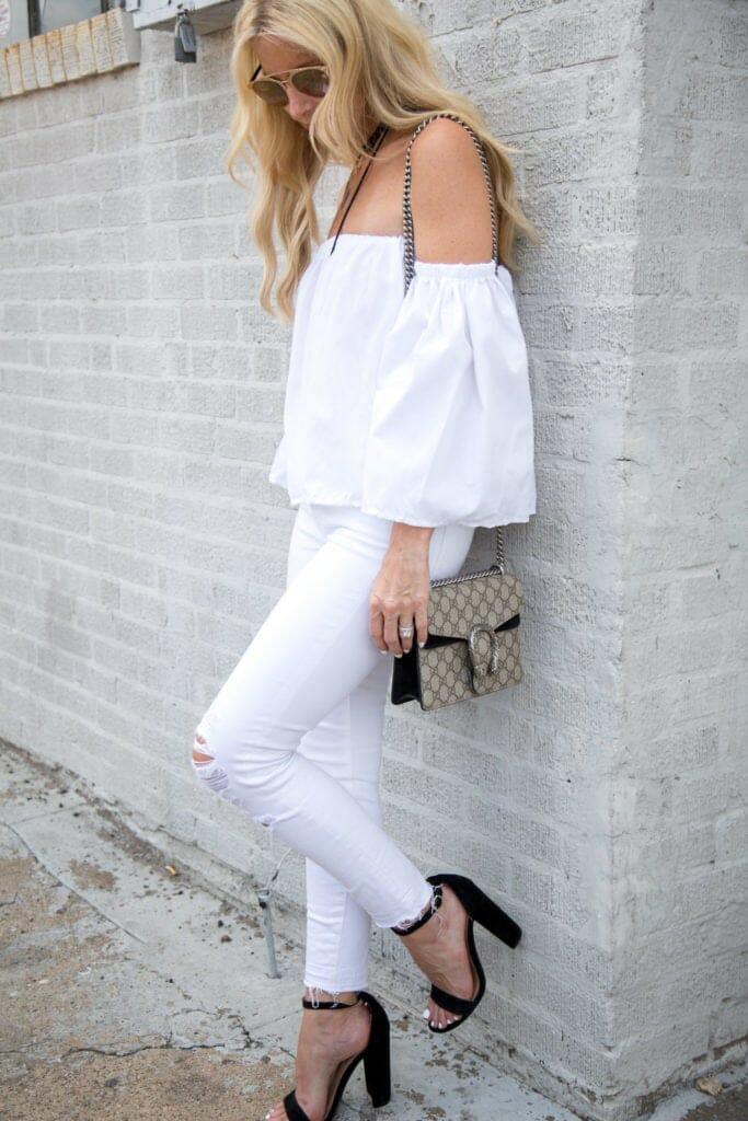White jeans, off the shoulder top, gucci handbag