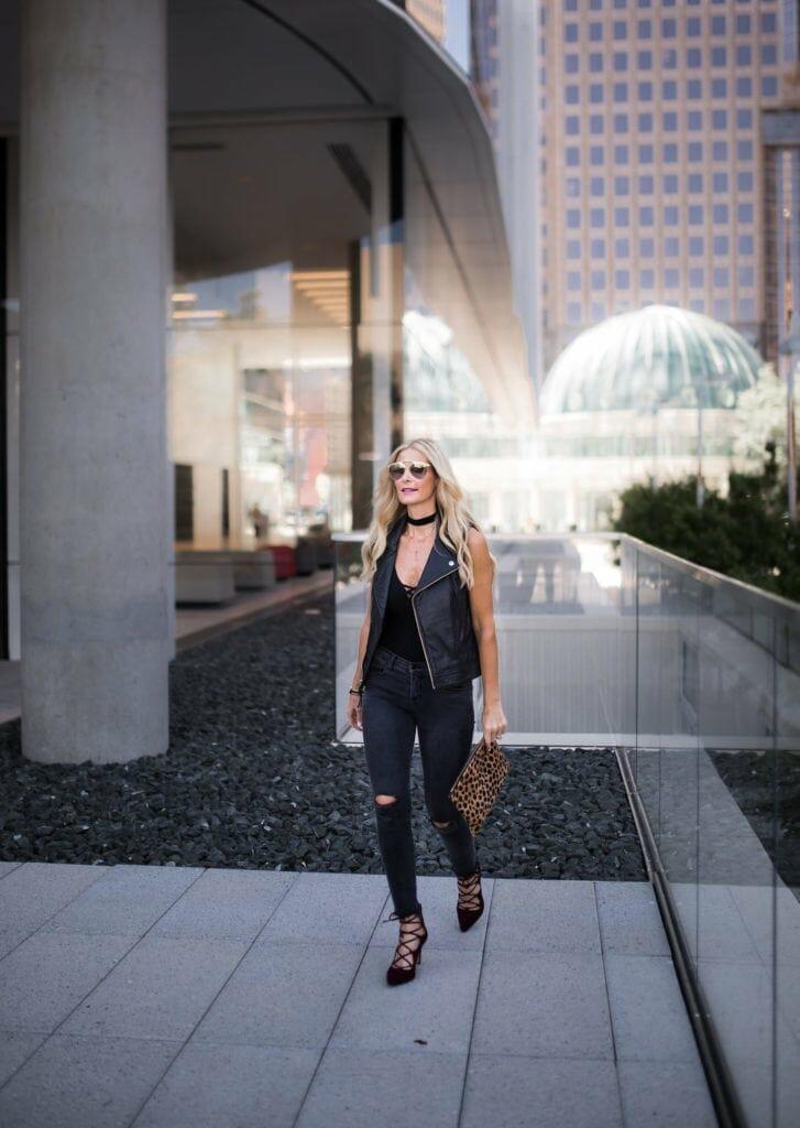 Moto Vest, Dallas Fashion Blogger, Black Ripped Jeans, Lace-Up Heels