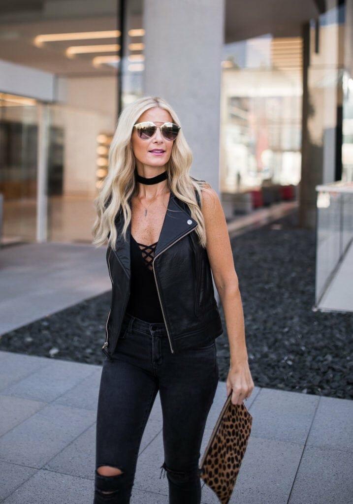 Moto Vest, Dallas Style Blogger, Black Choker, Dior Sunglasses