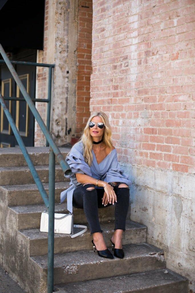 Storets Top, Black Ripped Jeans, Dallas Fashion Blogger
