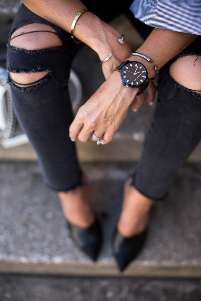 Black Ripped Jeans, Dallas Style Blogger, Christian Paul Watches