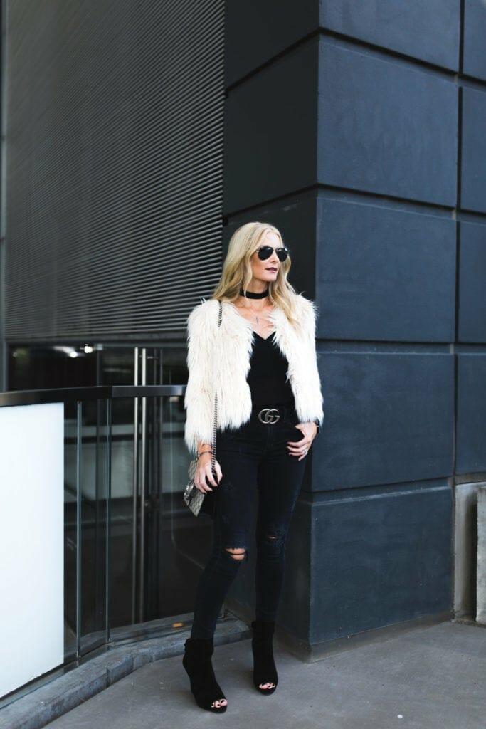 Gucci Belt, Faux Fur Jacket, Black Ripped Jeans, Dallas Fashion Blogger