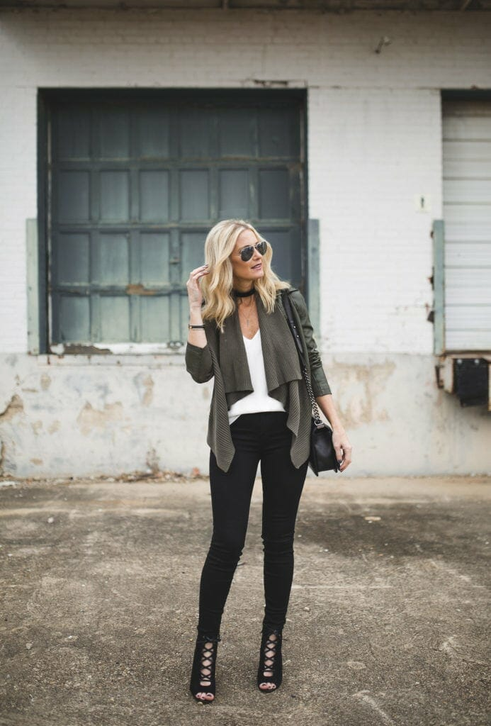 Faux Leather Cardigan