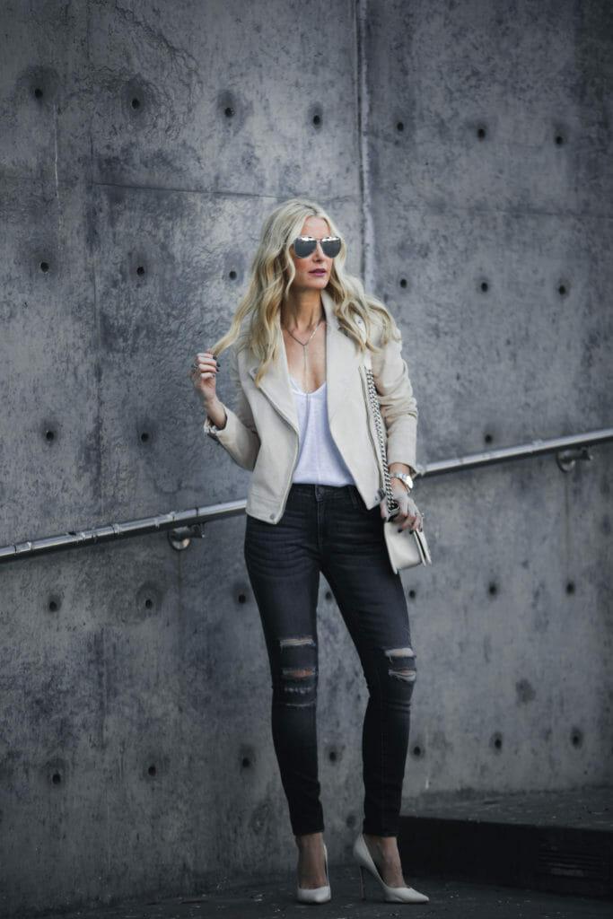 Dallas Fashion Blogger, Heather Anderson, Suede Moto jacket