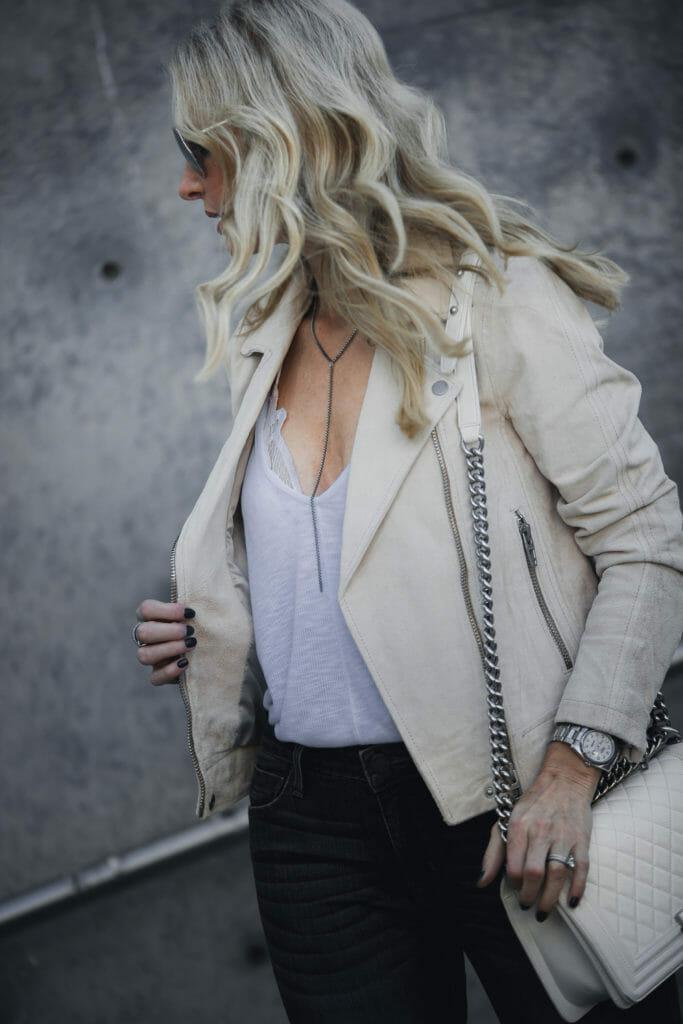 Dallas Fashion Blogger, Spring Moto Jacket, Chanel Boy bag