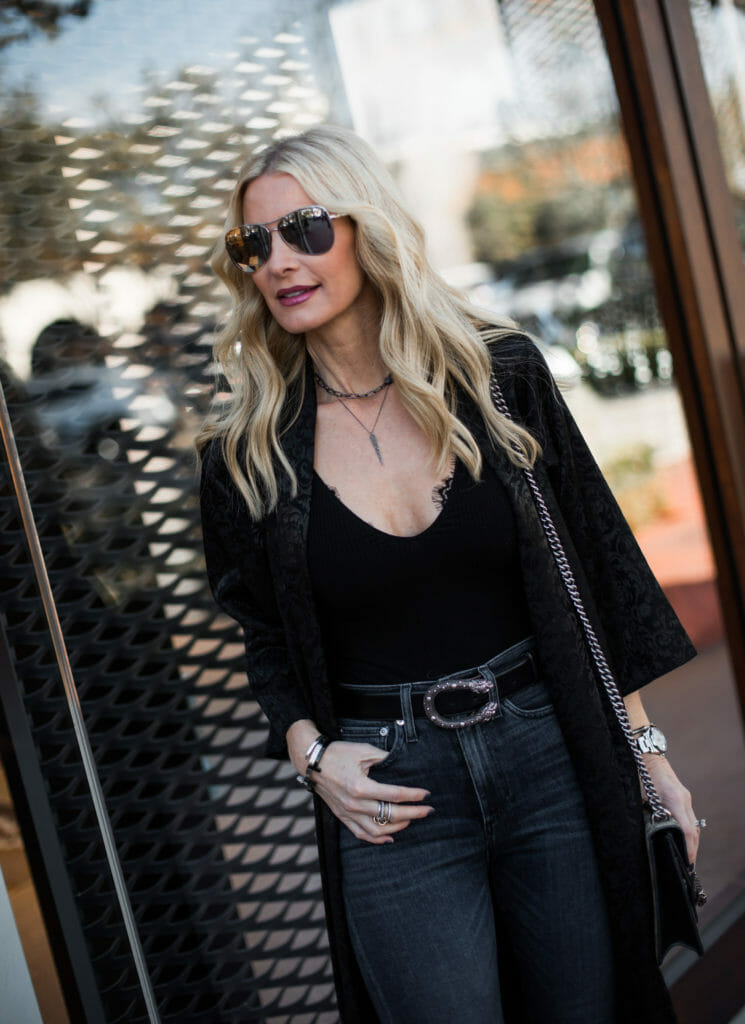 AOLA High Waisted Denim, Black Kimono, Dallas Fashion Blogger