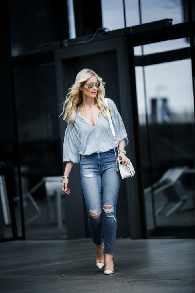 Heather Anderson wearing Mother Denim and White heels