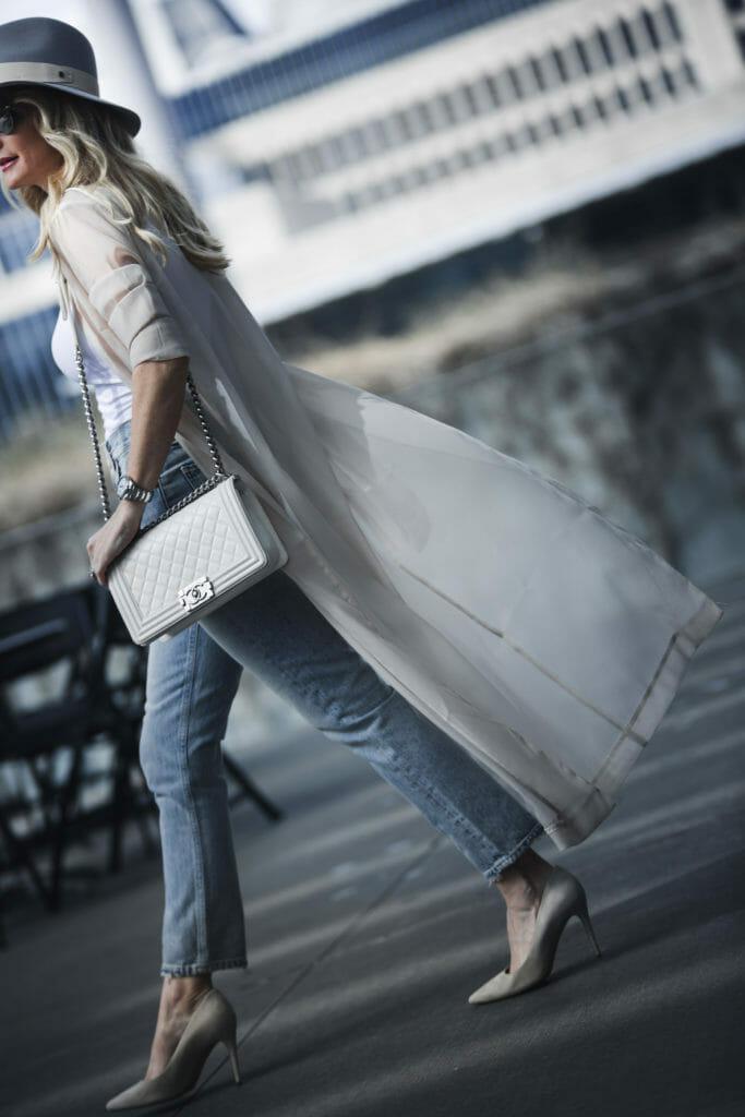 White Chanel Boy Bag worn by Dallas Fashion Blogger