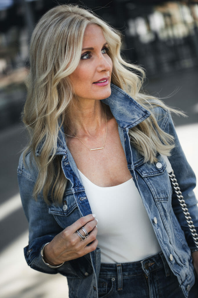 Heather Anderson wearing Madewell Jean jacket