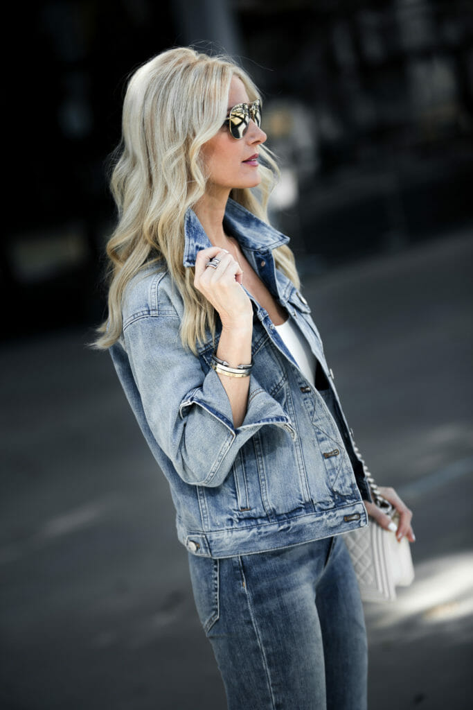 So Heather Dallas fashion blogger wearing double denim