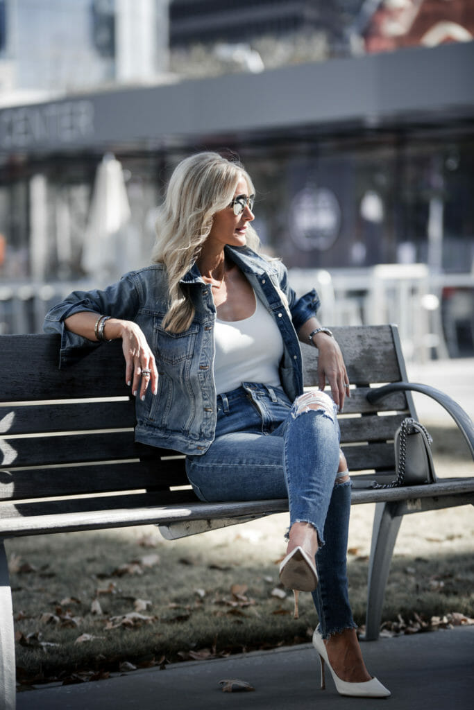 Dallas fashion blogger wearing double denim