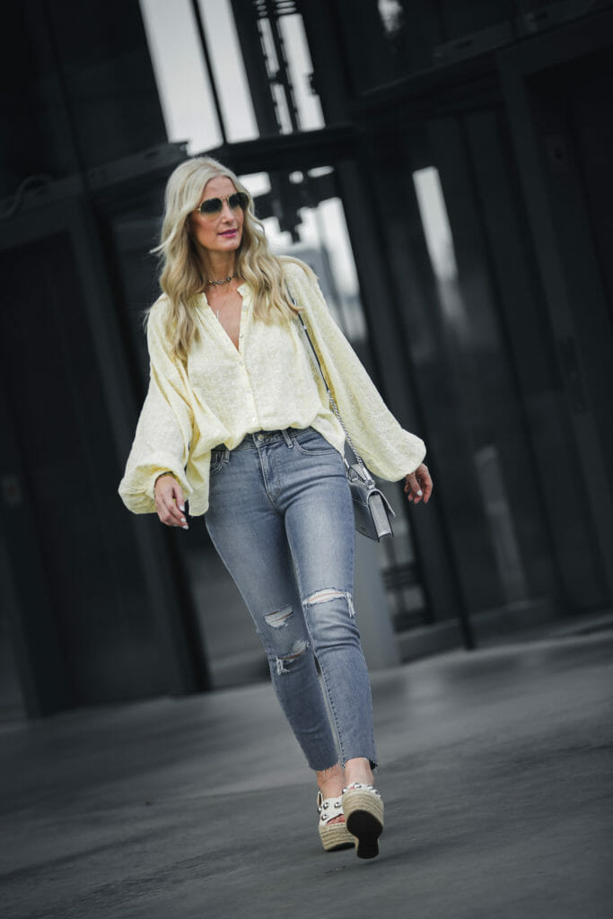 Ripped Jeans and White Wedges