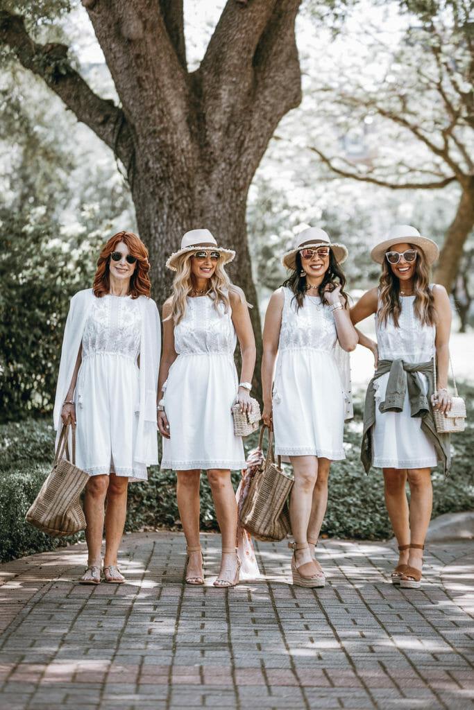 Dallas Bloggers wearing white dress from J Jill
