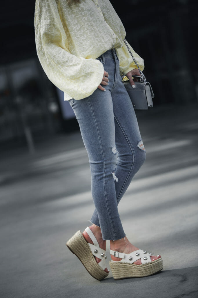 Levis, Marc Fisher Wedges, and Free People Top