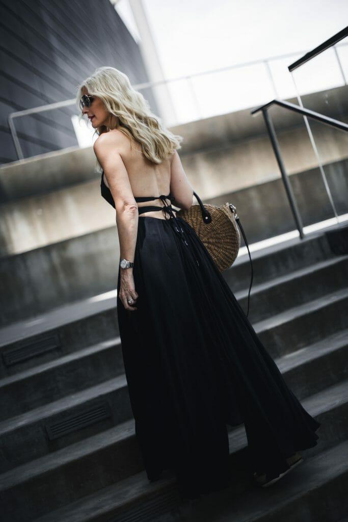 Black Maxi dress and straw bag