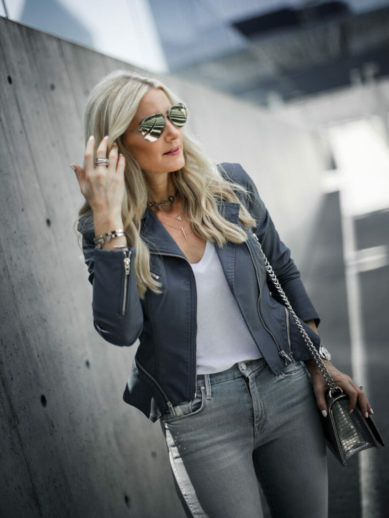 blanknyc moto jacket and Mother denim jeans