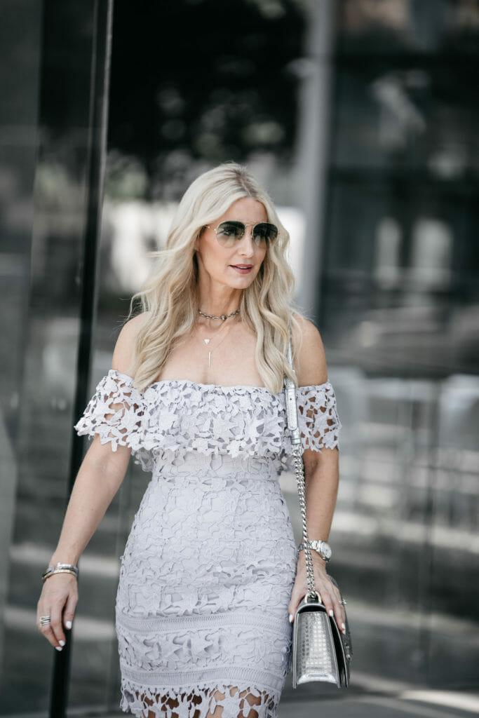 Dallas fashion blogger wearing Astr off the shoulder dress
