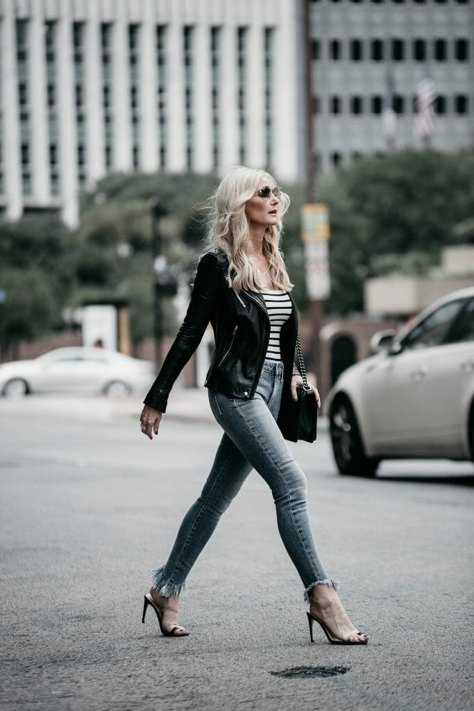 Dallas Fashion Blogger wearing Iro leather jacket