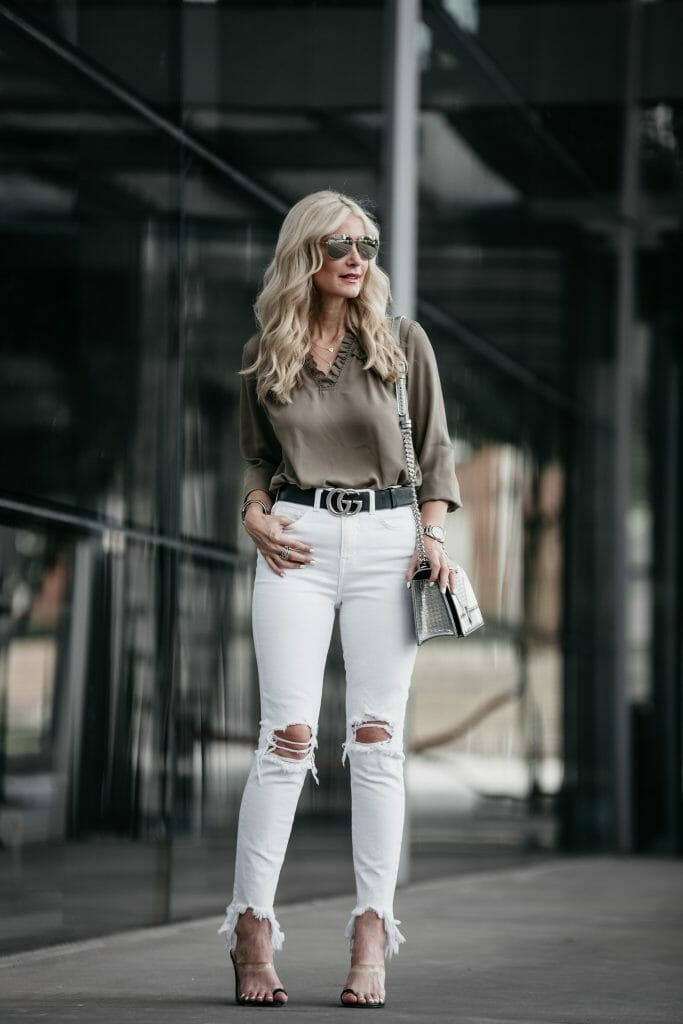 Ivanka Trump top and L'agence white jeans