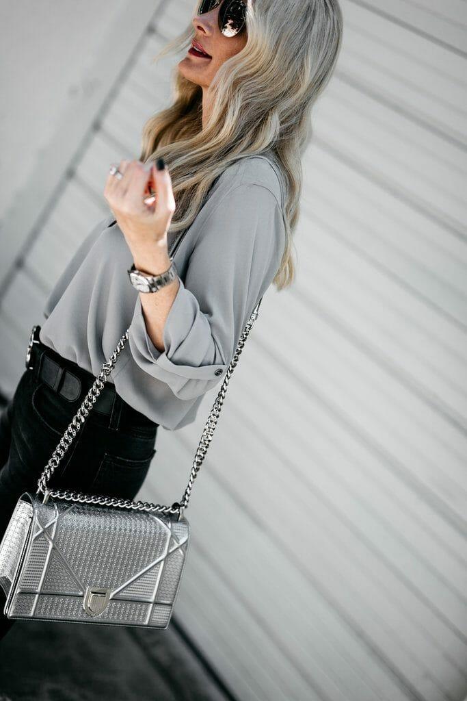 Dallas blogger carrying Dior handbag