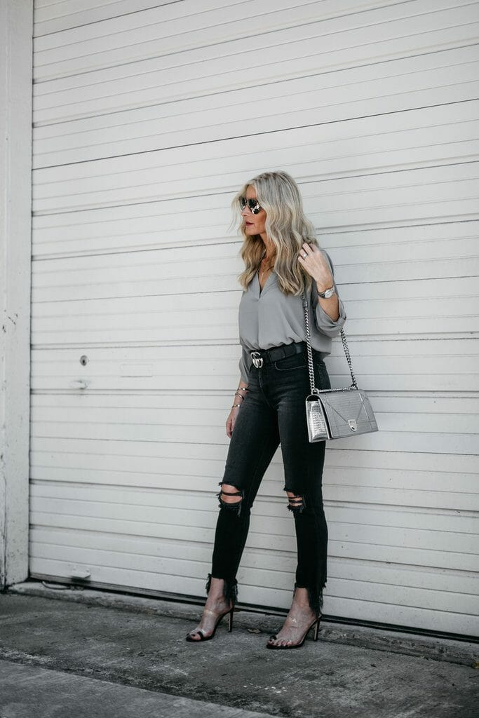 Dallas fashion blogger wearing L'agence jeans and Gucci belt