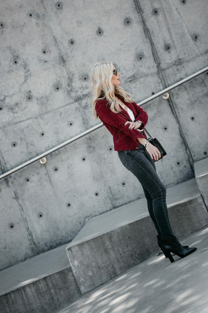 Blanknyc moto jacket and Marc Fisher Booties