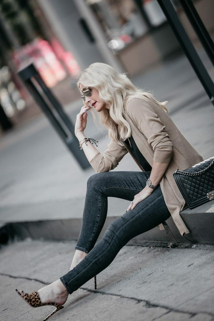 Dallas style blogger wearing leopard heels and J Jill Camel Cardigan