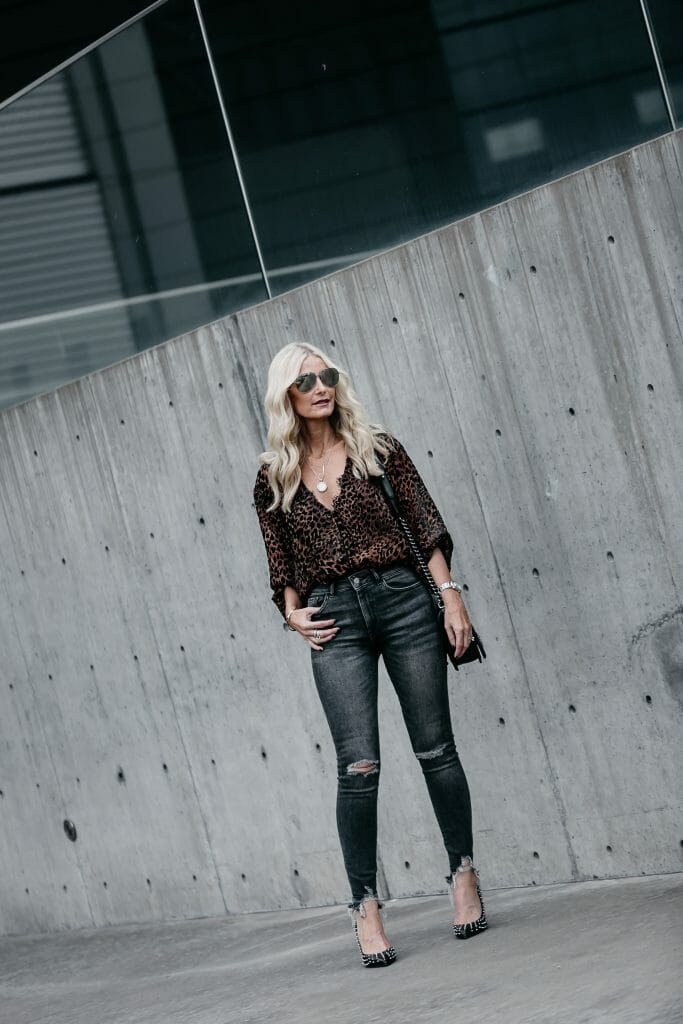Free People leopard top and DL1961 jeans