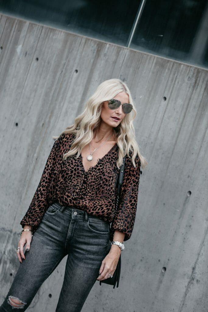 Free People Leopard top and ripped skinny jeans