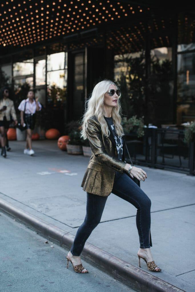 NYC street style in Metallic Blazer
