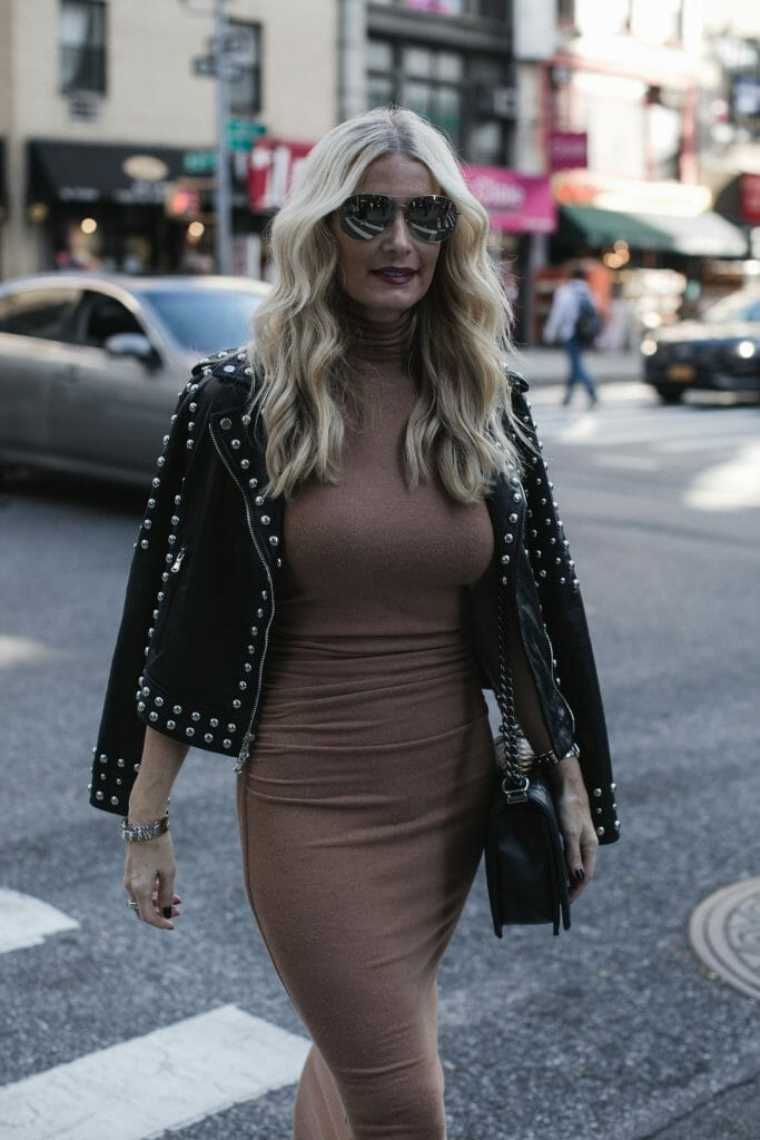 Studded leather jacket and Enza Costa ruched dress