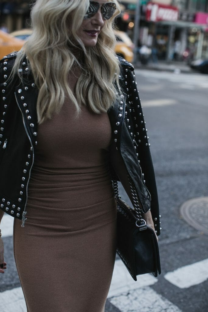L'agence studded leather jacket and fitted dress