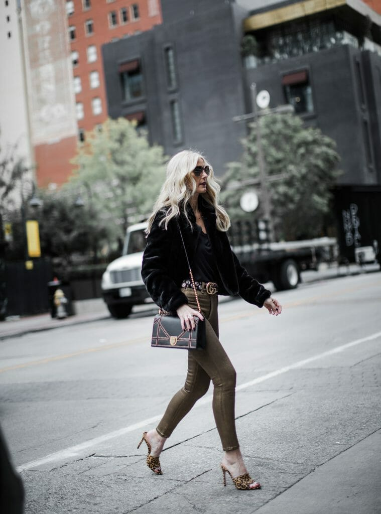 Dallas blogger wearing Rag and Bone gold jeans