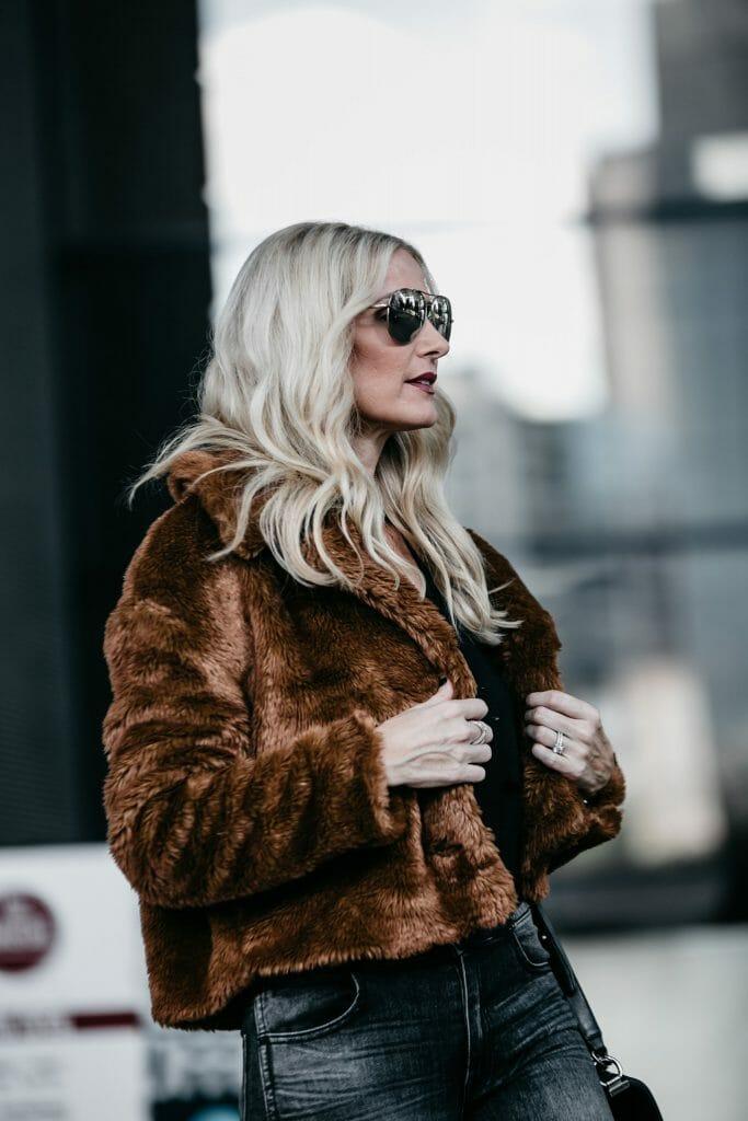 Dallas blogger wearing Free People faux fur jacket