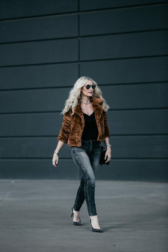 Dallas fashion blogger wearing Free People faux fur jacket