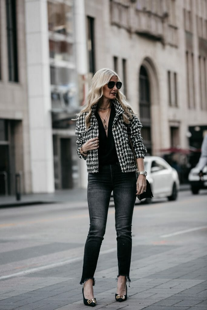 Dallas blogger wearing 3x1 jeans and tweed jacket