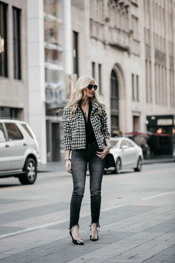 Dallas style blogger wearing a tweed jacket and gray skinny jeans