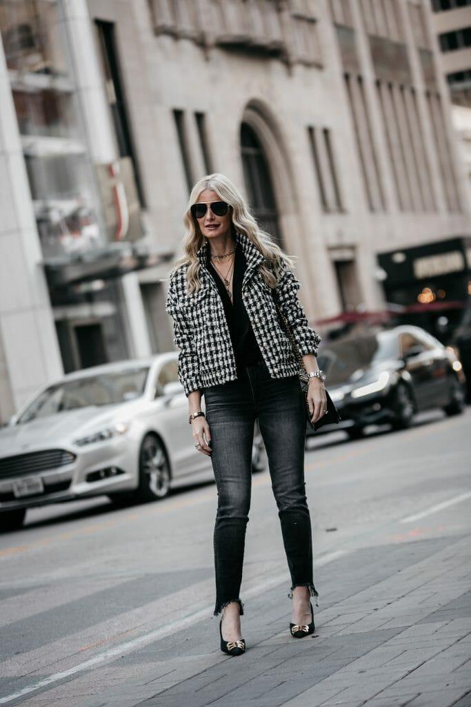 Dallas blogger wearing a Chanel style jacket and Balenciaga heels