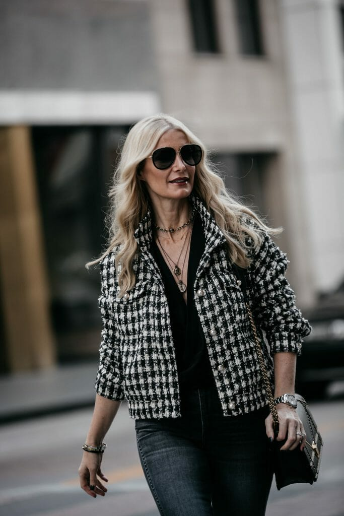 Dallas fashion blogger wearing tweed jacket and coin necklace