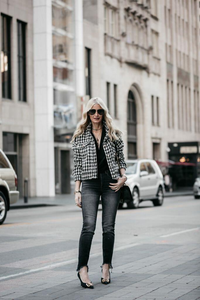 Dallas fashion blogger wearing 3x1 gray skinny jeans and Balenciaga heels