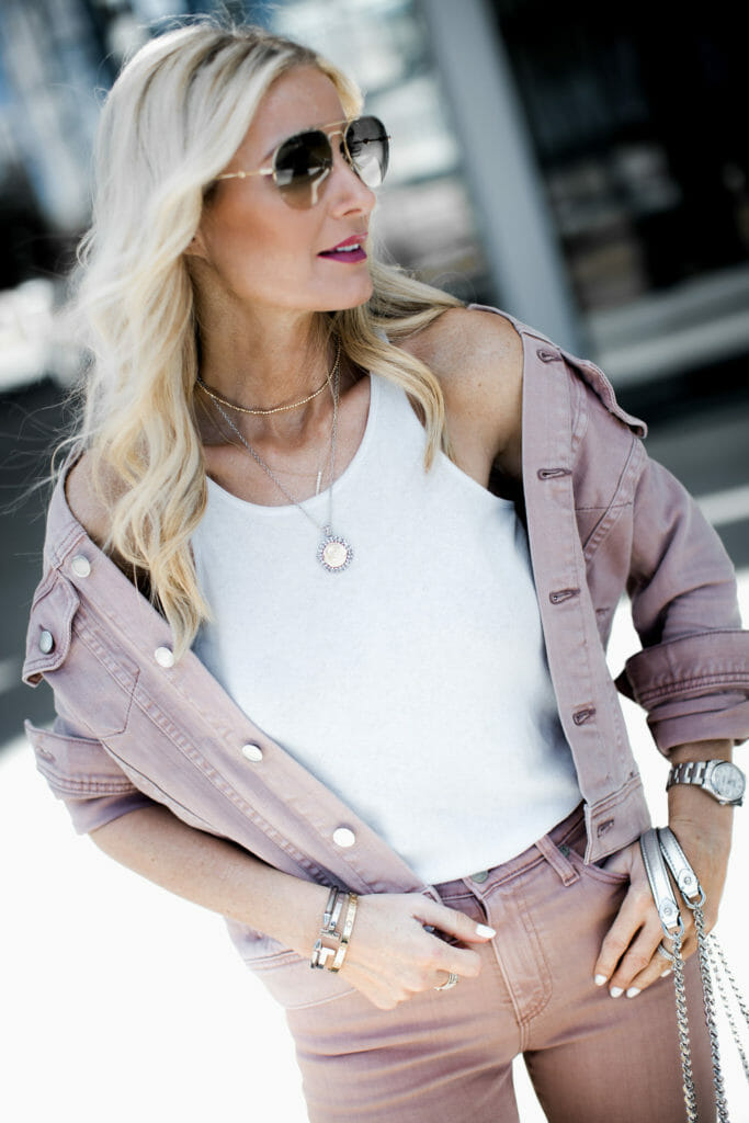 Dallas blogger wearing AG denim jacket and white tank